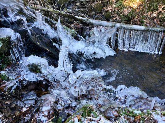 Ice forms in a cascade of water