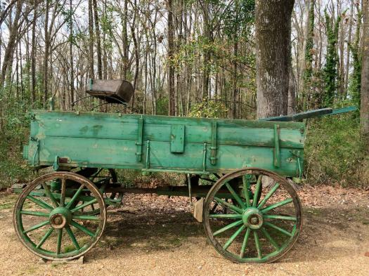 Antique wagon painted green