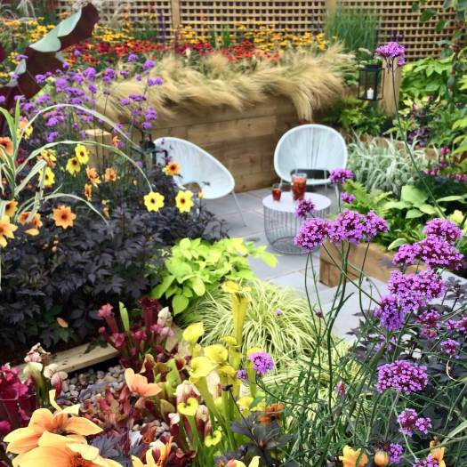 Garden with bright flowers and foliage