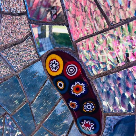 Coloured glass and mirror mosaic