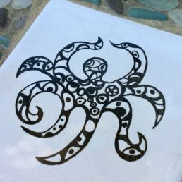 Tile with octopus cartoon