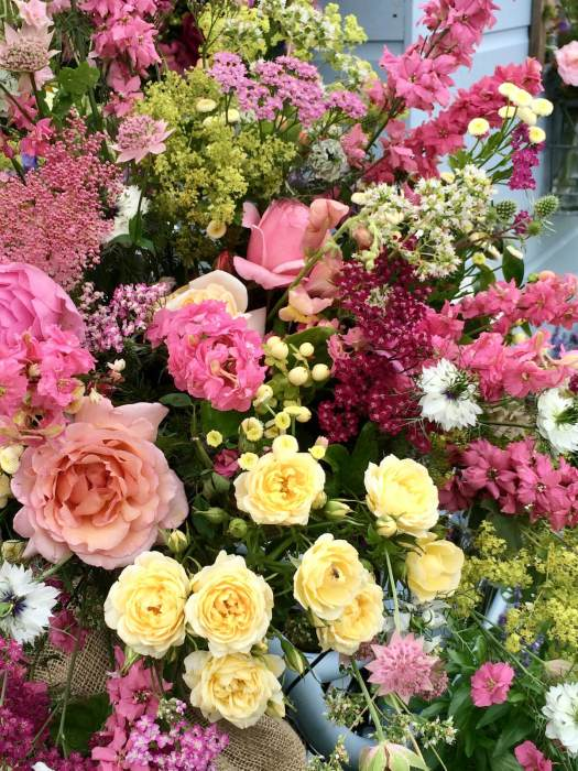 Cut flowers in shades or yellow, apricot and pink