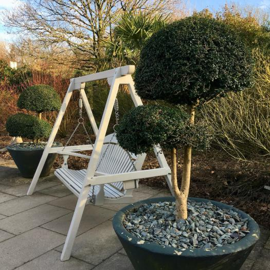 Bench swing with poodle trees at Harlow Carr