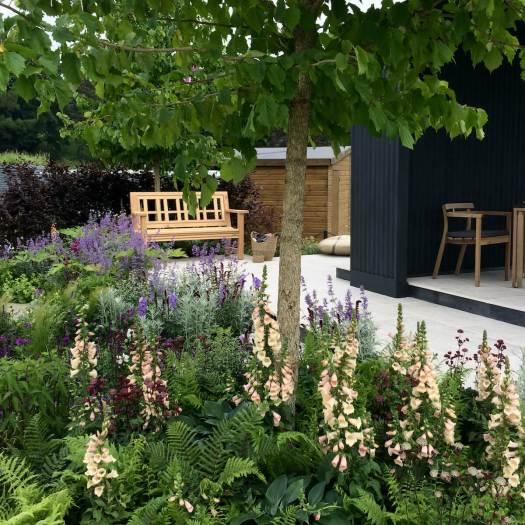 Square design garden bench, CCLA Family Garden at Chatsworth