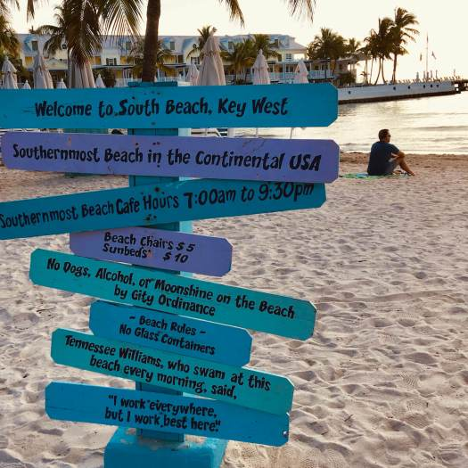 Key West beach sign