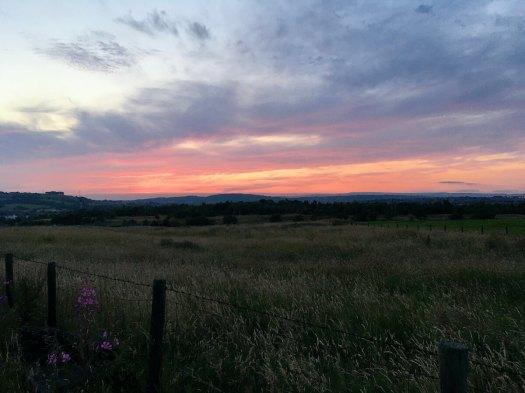 Sunset over field, Darwen