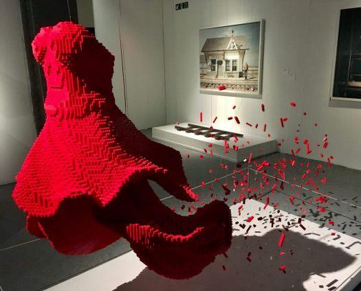 """Red Dress"" lego sculpture by Nathan Sawaya"
