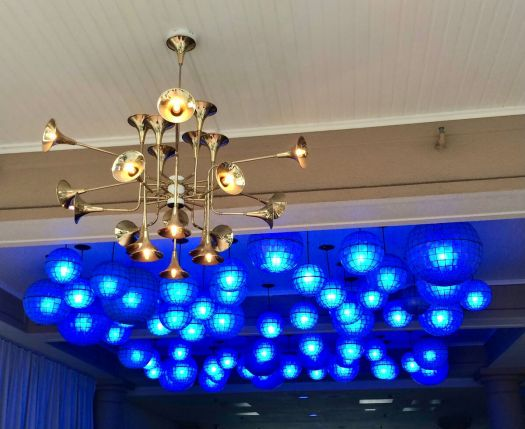 Multi-dimensional ceiling light with blue ceiling lights
